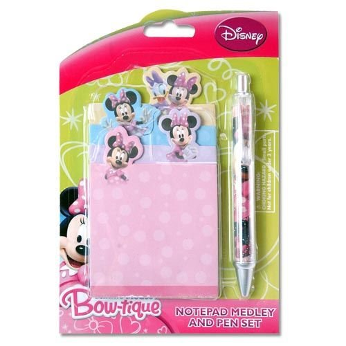 Disney Minnie Mouse Bow-tique Notepad Medley & Pen Set- Stationery Set Includes Four Notepads and Pen!