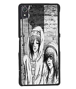 Fuson Black & White Couple Back Case Cover for SONY XPERIA Z2 - D3823