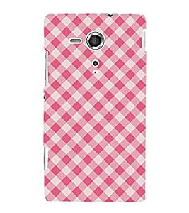 Red Checks Pattern Wallpaper 3D Hard Polycarbonate Designer Back Case Cover for Sony Xperia SP :: Sony Xperia SP M35h