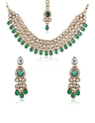 Party Wear Kundan Necklace Set In Green Color With Maang Tika Gold Plated For Women By Shining Diva