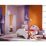 Kinderzimmer Sternchen 4-teilig lila weiß Bett Nachtkommode Kleiderschrank Kinderbett Nako