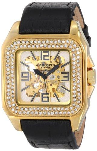 Akribos XXIV Women's AK520YG Square Crystal Skeleton Automatic Watch