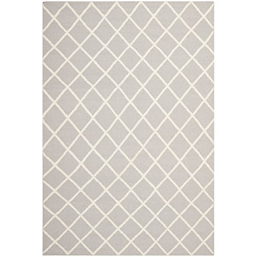 Safavieh Dhurries Collection DHU565G Hand Woven Grey and Ivory Wool Area Rug, 6 feet by 9 feet (6' x 9')