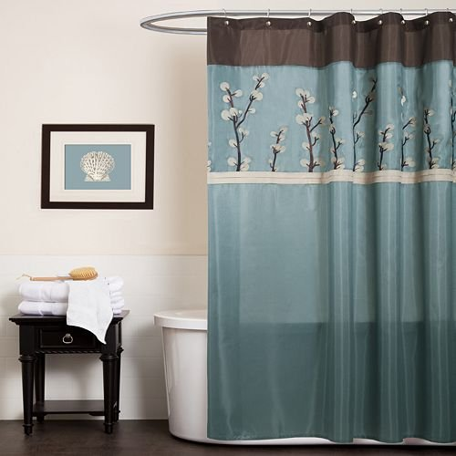 Triangle Home Fashions 19259 Lush Decor Cocoa Flower Shower Curtain, Blue/Brown
