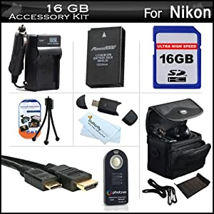 16GB Accessories Kit For Nikon 1 J1, Nikon 1 J2 Mirrorles Digital Camera Includes 16GB High Speed SD Memory Card + Extended (1200Mah) Replacement EN-EL20 Battery + Ac/DC Travel Charger + Mini HDMI Cable + Wireless Remote Control + Case + Screen Protectors