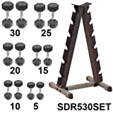 Rubber Dumbbell Set- 5-30 lb w/ Vertical Rack