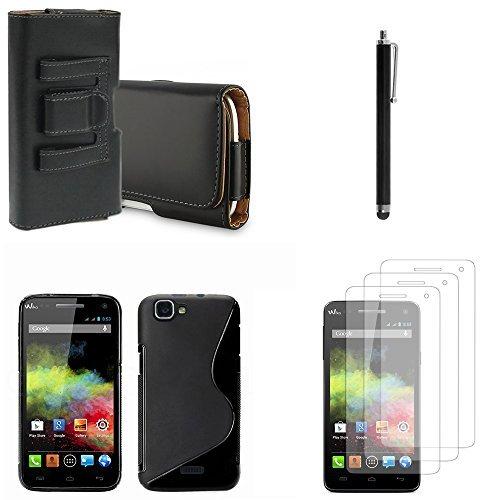 Wiko Rainbow-Set custodia in Silicone Gel, accessori pellicole pennino in pelle con clip per cintura, colore: nero