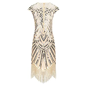 BelinlaAny Women's 1920s Gatsby Retro Diamond Sequined Embellished Fringed Flapper Dress