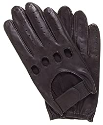 Pratt and Hart Men\'s Leather Driving Gloves with Velcro Strap Size L Color Brown