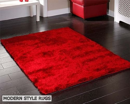 Splendour Bright Red Soft Touch Shaggy Large Luxury Modern Rug 120cm x 170cm