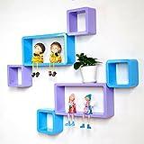 DecorNation Wall Shelf Set of Six Cube Rectangle Designer Wall Rack Shelves - Skyblue & Purple