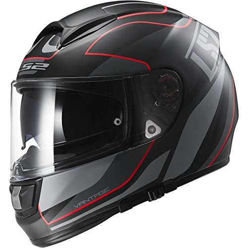 LS2 Helmets Vector Vantage Full Face Motorcycle Helmet with Sunshield (Matte Black/Red, XXX-Large)