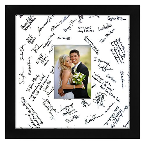 14x14 Black Wedding Picture Frame - Matted to Fit Pictures 5x7 Inches or 14x14 Without Mat - Made with Glass (14x14 Picture Frame compare prices)