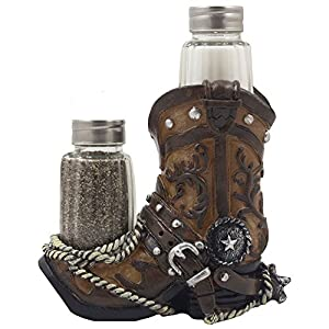 Fancy Cowboy Boot Salt And Pepper Shaker Set With Decorative Display
