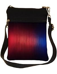 Snoogg Woollen Red Blue Design Cross Body Tote Bag / Shoulder Sling Carry Bag