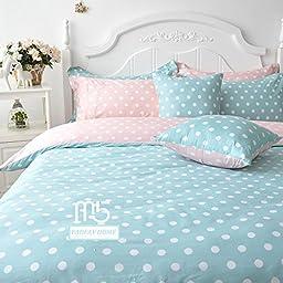 FADFAY Blue Polka Dot Bedding Set Teen Girls Cotton Duvet Cover Set 4PCS