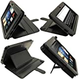 IGadgitz Black 'Guardian Tri-view' PU Leather Case Cover for Amazon Kindle Fire HD 7