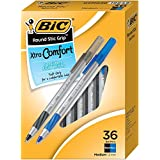 BIC Round Stic Grip Xtra Comfort Ball Pen, Medium Point (1.2 mm), Black and Blue Ink, 36-Count