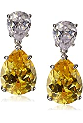 """CZ by Kenneth Jay Lane """"Trend Cubic Zirconia"""" Rhodium-Plated Pear Drop Earrings, 6 CTTW"""