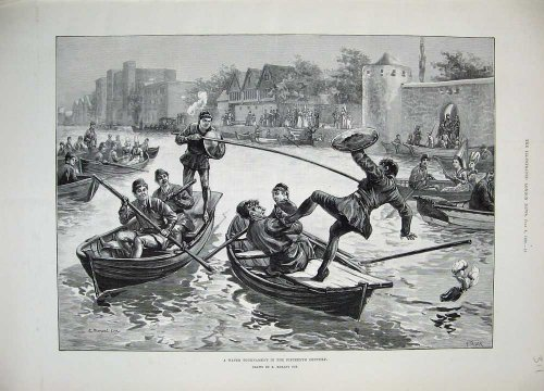 1889 Water Tournament Jousting River Boats Sport Men