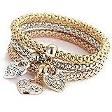 Unique Women's Love heart DiamondChain Bracelet & Bangle