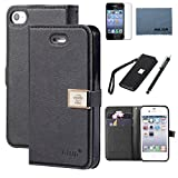 iphone 4 Case,iphone 4s case,By Ailun,Wallet Case,PU Leather Case,Credit Card Holder,Flip Cover Skin[Black]with Screen Protector and Styli Pen