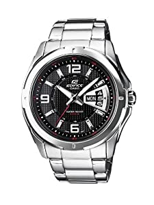 Casio - EF-129D-1A - Edifice - Montre Homme - Quartz Analogique - Cadran Noir - Bracelet Acier Gris