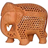 Wooden Handicraft Elephant With Baby Elephant Set Antique Gift Showpiece Jaali Elephant, Brown, Hand Carved Wooden...