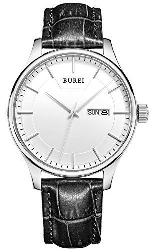 BUREI® Men's SM-13001-P01AY Day and Date Black Calfskin Leather Watch with White Dial