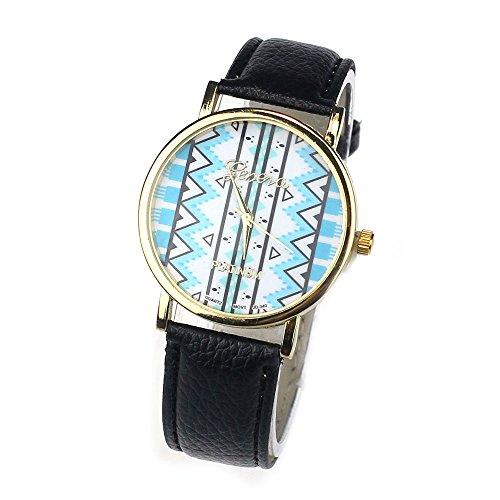 Zps(Tm) Fashion Quartz Waves Tribal Pattern Leather Wrist Watch(Black)