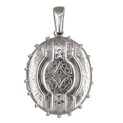 Childrens Sterling Silver Large Fancy Victorian Oval Locket On A 14 Inch Curb Necklace