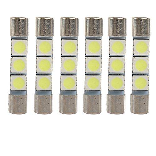 3-Smd 5050 Super Bright White Vanity Led Light Bulbs Mirror Fuse Sun Visor 6-Pack