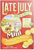 Late July Organic Mini Cheddar Cheese Bite Size Sandwich Crackers, 5-Ounce Boxes (Pack of 12)