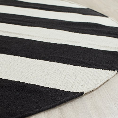 Safavieh Montauk Collection MTK712D Hand Woven Black and Ivory Cotton Round Area Rug, 6 feet in Diameter (6' Diameter)