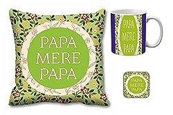 meSleep Papa Mere Papa Cushion Cover, Mug and Coaster Combo