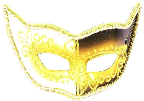 Forum Novelties Men's Venetian Style Eye Mask, Gold/Black/White, One Size