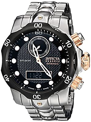 Invicta Men's 12485 Venom Analog-Digital Display Swiss Quartz Silver Watch