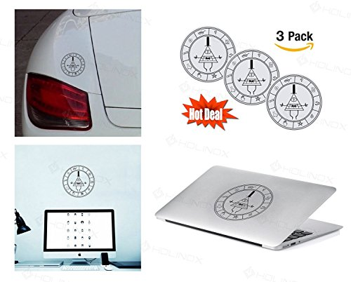 PACK of 3 Gravity Falls Bill Cipher Wheel Sticker Decal for Macbook, Laptop ,Car Window, Laptop, Motorcycle, Walls, Mirror and More. MTS026