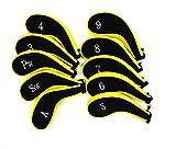 選べる 3 色 ゴルフ クラブ アイアン パター ヘッド ケース 10 個 フル セット (イエロー)