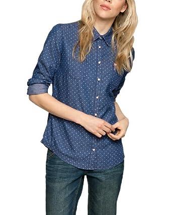 Comma CI Damen Bluse Regular Fit, gepunktet 88.402.11.5871 BLUSE LANGARM, Gr. 42, Blau (57Y2 blue denim non stretch)