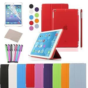 Besdata® Apple iPad Smart Housse de protection en polyuréthane avec Coque arrière pour IPad Air, Rouge - PT4103