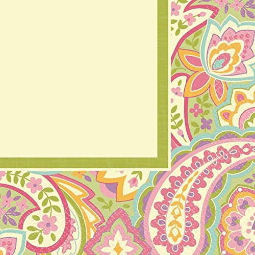 "Amscan Highly Absorbent Pretty Paisley Lunch Napkins (16 Pack), 12-7/8 x 12-7/8"", Pink/Multi"
