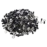 500 Pcs RV3.5-8 AWG 14-12 Black Sleeve Pre Insulated Ring Terminals Connector
