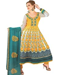 Exotic India Citrus-Yellow Shaded Anarkali Salwar Suit With Meta - Citrus-Yellow