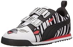 PUMA Roma SL Zebra V Kids Classic Sneaker (Infant/Toddler/Little Kid/Big Kid) , White/Black/Geranium, 1.5 M US Little Kid