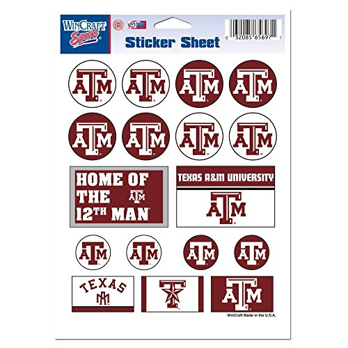 Texas A&M Aggies Official Ncaa 5 Inch X 7 Inch Sticker Sheet front-746556