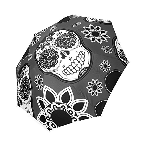 Hot Sale Unique Black and White Sugar Skull Flower Art Foldable Umbrella Compact Umbrella