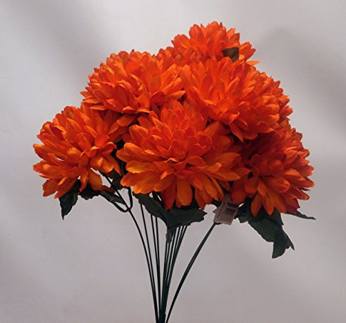 "19"" Artificial Fall Mum Bush-(12 Mums ber bush) (Flame)"