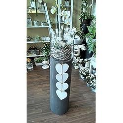 Zensäule Windlicht Darkgrey aus Zement-Fiberglas-Gemisch mit Glas Deko Säule Höhe 90 cm