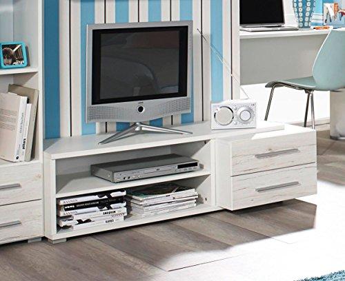 Matelpro-Meuble TV contemporain chêne blanc/blanc Brooke